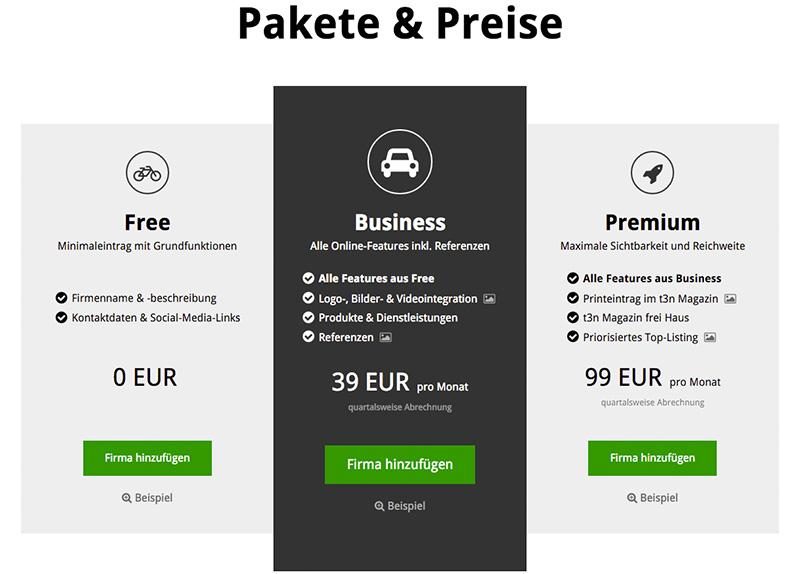 Pakete und Preise von t3n Firmen